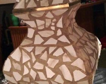 White and Tan Mosaic Lamp