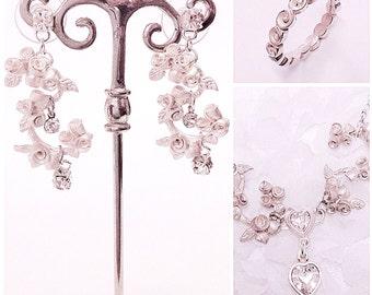 Rose chandelier bridal earring Swarovski crystals