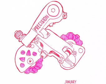 Drawing of Precision Bicycle Derailleur