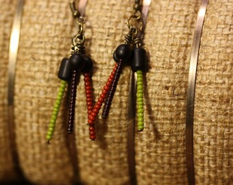 Handmade beaded earring, tri-colored