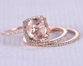3pcs wedding ring setmorganite engagement ring9mm big cushion14k rose gold - Morganite Wedding Rings