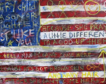 Just Like You - Original Modern American Flag Painting, Mixed Media (collage, graffiti, paint, newspaper)