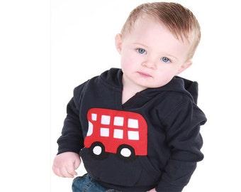 Cute Double Decker Bus Hoodie, Custom Made, Applique, Fair Trade, Clothing, Baby, Toddler, Hooded Sweatshirt, Cotton, London, Double Decker,