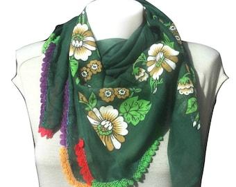 scarf, neck scarf, turkish, traditional, vintage, yemeni, head scarf, green scarf, wrap