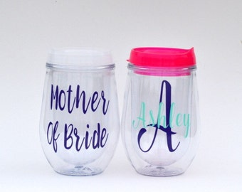 Personalized mother of bride gift, mother of bride cup, mother of bride wine tumbler, mother of bride tumbler