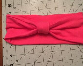 Pink jersey knit headband