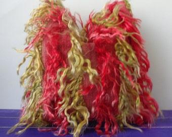 40x40cm kilim pillow red goat hair pillow cover  - 226a