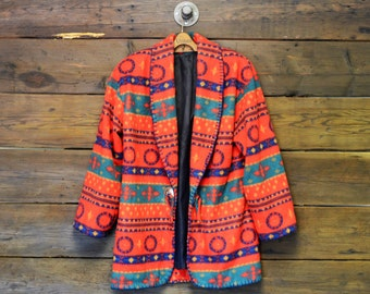 Navajo Printed Fleece Jacket