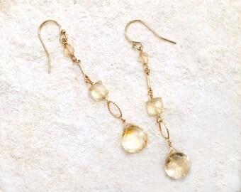 Citrine Drop Earrings, 14k gold-fill