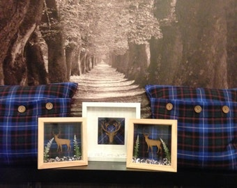 2 macrae tartan cushions with 3 matching stag frames