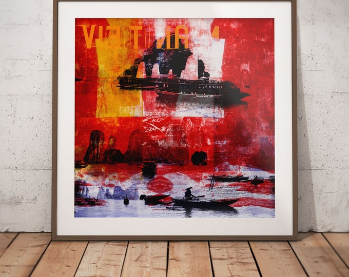 Vietnam Mixed Media XVI by Sven Pfrommer - Artwork is ready to hang with a solid wooden frame