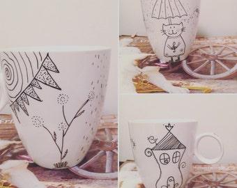 Cat lovers mug \ Porcelain mug \ Tea cup \ Mug with cat \ Cat lovers gift \ Mr. & Mrs Cat \ Tea mug \ Coffe mug
