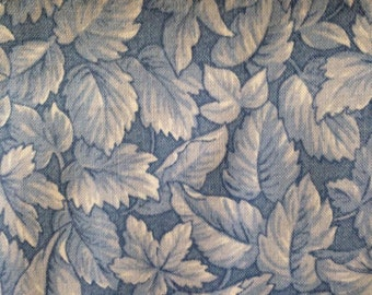 "SALE Vintage 100% Cotton fabric 62"" x 44/45"" Blue/Ivory Leaves on Blue Background"