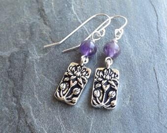 Amethyst Lotus earrings / Amethyst beads and silver plated Lotus charm earrings / Purple lotus earrings / Lavender lotus earrings