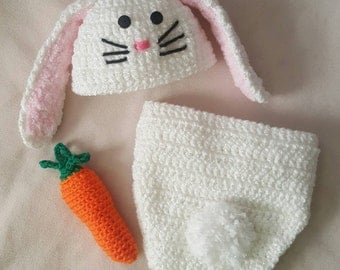 Crocheted Bunny Diaper Cover set