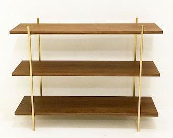 Walnut and Gold Low Shelf