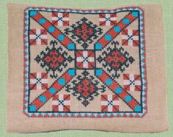 pillow case - cross embroidery on jute burlap
