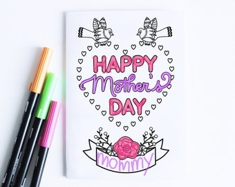 Printable Mothers Day Card Instant Download For Mom Keepsake