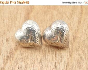 1 Day Sale Vintage Heart Post Earrings Sterling Silver 3.6g Vintage Estate