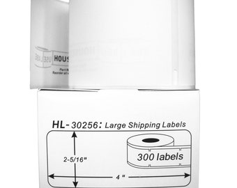 """12 Rolls; 300 Labels per Roll of HouseLabels DYMO-Compatible 30256 Address/Shipping Labels (2-5/16"""" x 4"""") -- BPA Free!"""