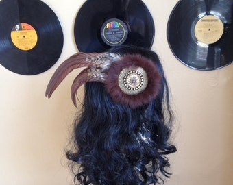 Bohemian Feather Hair Clip With Fur and Bronze details