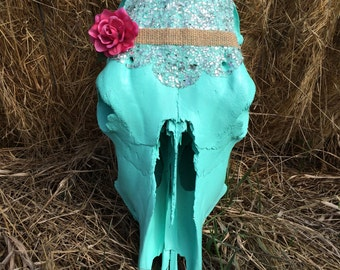 "Cow skull ""Blinged cowgirl"""