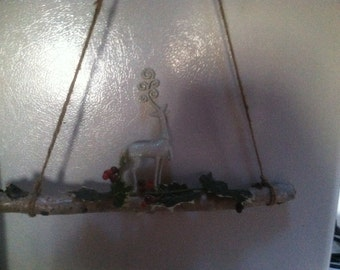 NH white birch deer wall hanger