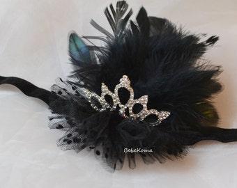 black swan crown, black feather crown, black swan costume, black swan tiara, ballerina headband, black crown headband, black feather