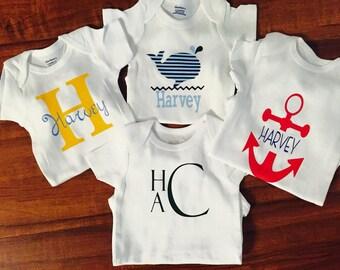 Personalized Baby Onesie, Anchor Onesie, Whale Onesie, Initial Onesie, or Name and Initial Onesie-YOU CHOOSE DESIGN