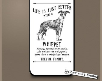 Whippet dog phone case cover iPhone Samsung ~ Can be Personalised