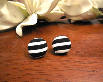 Black White Stripe Button Earrings-Black and White Stripes-Stripe Earrings-Stripe Studs-Clip Ons-Studs-Button Clip Ons-Button Earrings