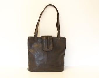 90s • Vintage • Leather • Shoulder Bag • Top Handle Bag • Handbag • Leather Bag • Black Leather Bag • Black Handbag • Black Shoulder Bag