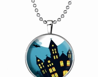 Steampunk style Necklace, Haunted House, Glow in the dark,falshing, silver plated, Long chain, Holiday Gift, Halloween,Fashion,GN0048
