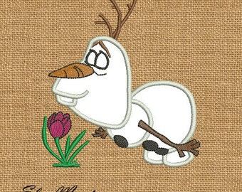 Olaf_ flower_applique - MACHINE EMBROIDERY DESIGN