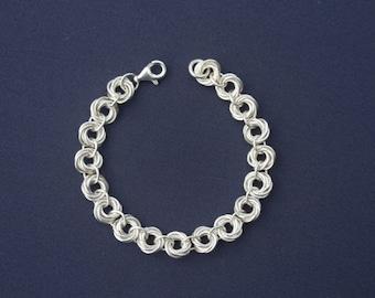 Sterling Silver 'Rosebud' Chainmaille Bracelet
