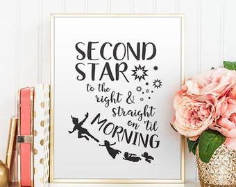 Neverland Nursery Quote Peter Pan Quotes Second star to the right Peter Pan Quote Art Print Neverland Digital Print Printable Disney