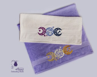 Embroidered face and bath terry towels triple moon goddess pagan wiccan witch magic towel spirituality esotheric mother goddess celtic style