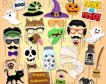 Happy Halloween Printable Photo Booth Props - Halloween Photobooth Props - Photobooth Props - Frankenstein Mummy Jack O Lantern Party
