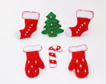 set pdf pattern sewing christmas toys ornaments felt christmas tree mitten stocking candy cane ornaments christmas decorations diy projects