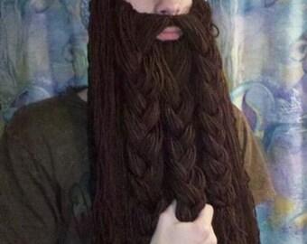 Handmade crocheted Viking hat w/ beard