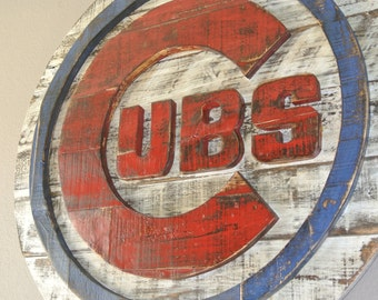 Rustic Chicago Cubs Baseball Logo, The Cubbies, Reclaimed wood, Distressed, Weathered, Wrigley Field, Chi Town, Windy City, Illinois, Wall A