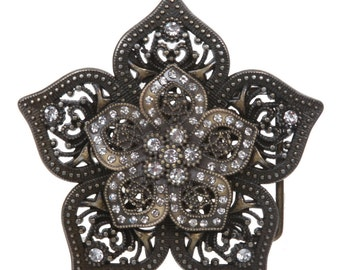 """1 1/2"""" Double Layer Perforated Rhinestone Floral Nickel Free Belt Buckle"""