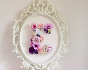 Custom Floral letter - Floral monogram - Baby girl's nursery decor - Baby birthday decor - Flower decor - Flower letter