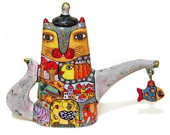 Kettle cat, teapot cat, teapot with decor, cat Kettle, coffee pot, cafetiere, ceramic teapot, teapot a decorated, decorative teapot cat