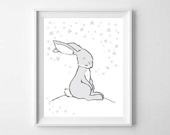 Bunny Rabbit Wall Art,Bunny Nursery Art,Bunny Rabbit Children,Bunny Rabbit Printable,Woodland Bunny Nursery,Bunny Rabbit  Kids Decor,Bunny