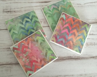 Chevron Coasters, Watercolor Coasters, Ceramic Coasters, Coaster Set, Housewarming Gift, Gift For Her, Handmade, Christmas Gift, Dorm Decor