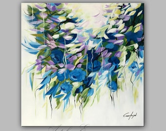 """SALLE, Original Flower Painting, Modern Canvas Art, Contemporary Painting, 24""""x24"""" Ready to Hang"""