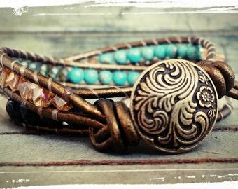 Soho - Double Layer Beaded Leather Wrap - Turquoise, Bronze, Cream and Cognac Czech Beads & Swarovski Crystals - Boho Wrap Bracelet/Gift