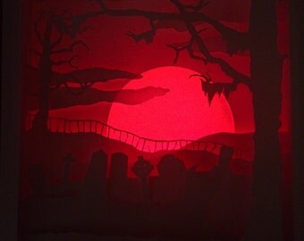 Graveyard Scene Cut Paper Shadow Box with Lights