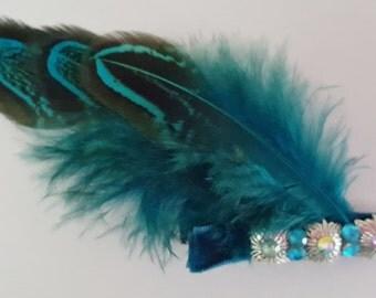 Teal feather hair clip